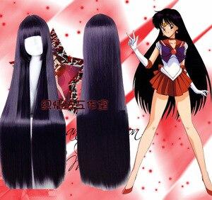 Image 1 - Sailor Moon Sailor Mars Rei Hino długie proste żaroodporne syntetyczne przebranie na karnawał włosy impreza z okazji Halloween peruka + darmowa peruka Cap