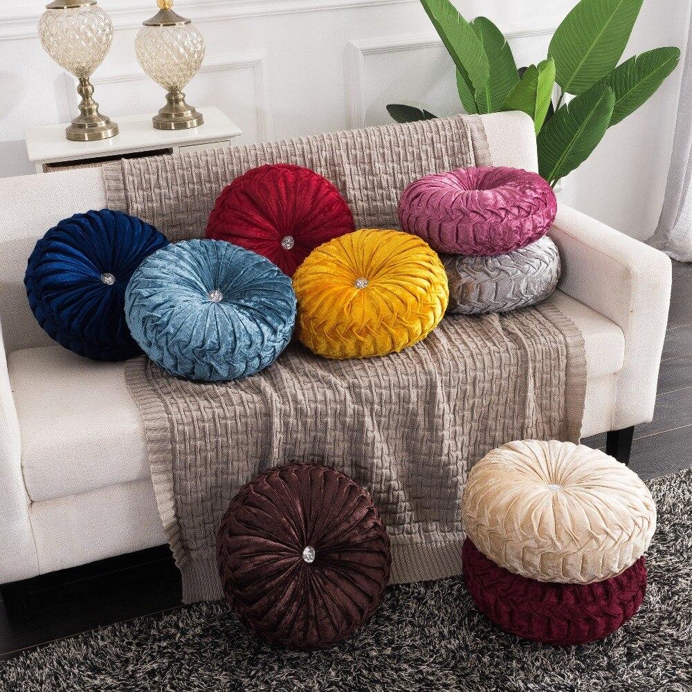 H8e5b65dcf01d4fc5bb910a0964403339b European Pastoral Style Pumpkin Round Seat Cushion/Back Cushion or as Sofa pillow Velvet Fabric 35x35cm 9 Colors