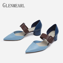 Women High Heels Mary Janes Shoes Woman Pumps Chunky Heels Pointed Toe Buckle Strap Dress Shoes Female Party Shoe Summer Sandals mixed color polka dot mesh upper girl nude shoes square toe black suede buckle mary janes shoes middle chunky heel shoes women