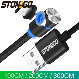 STONEGO LED Magnetic Micro USB Cable 90 Degree L Shape Magnet USB Charger Cable for Micro USB Port and Connectors 1M 2M 3M
