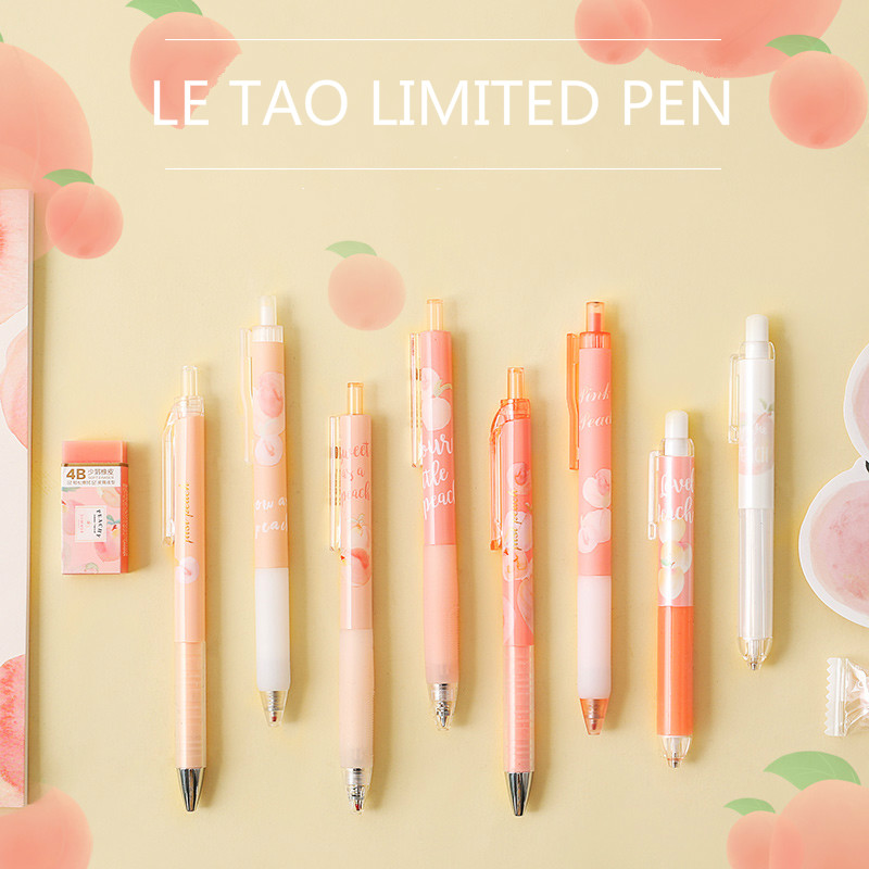 Mohamm 1Pcs 0.35mm Peach Black Ink Gel Pen Office School Writing Student Supplies Stationery