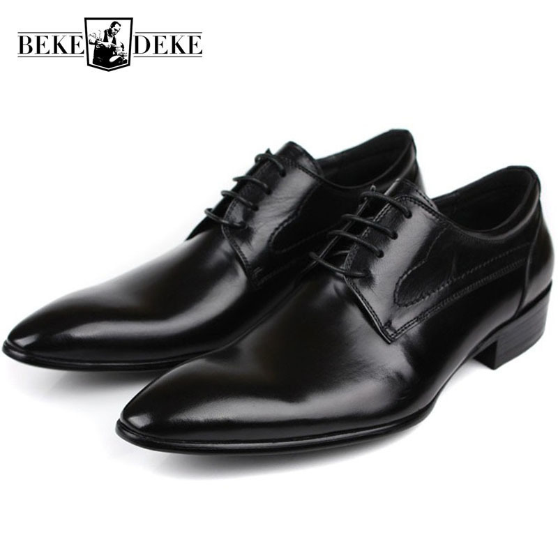 Wedding Men Dress Shoes Genuine Leather
