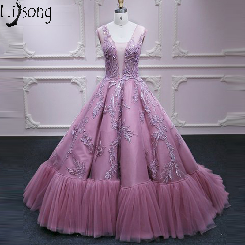 Pink Princess Long Formal   Prom     Dresses   Lace Appliques Tulle V Neck Elegant Evening   Dress   Robe de soiree Engagement Party Gowns