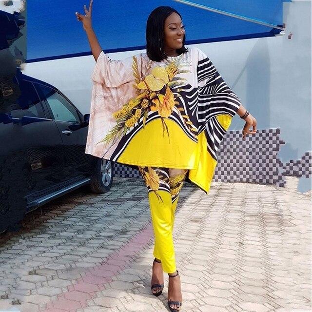 Costume de vêtements dafrique pour les femmes définit nouveau africain imprimé élastique Bazin Baggy pantalon Style Rock Dashiki manches célèbre costume pour dame