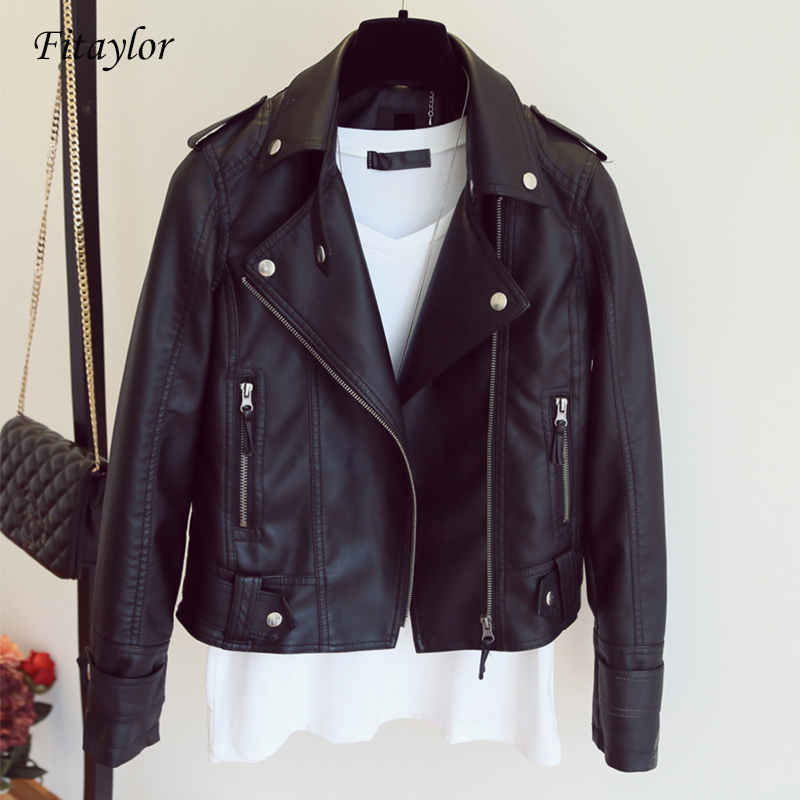 Fitaylor Female New Spring Autumn PU Leather Jacket Faux Soft Leather Coat Slim Black Rivet Zipper Motorcycle Pink Jackets