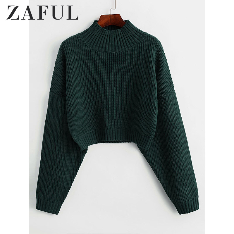 ZAFUL Drop Shoulder High Neck Plain Sweater Short Length Elastic Solid Color Sweater Autumn Winter Warm Women Daily Pullover2019