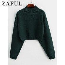 ZAFUL Drop Shoulder High Neck Plain Sweater Short Length Elastic Solid Color