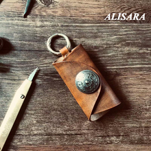Genuine leather car key case wallet fashion cow leather car key holder, Car Universal Key bag Vintage art do old style crown key style cow leather necklace bronze dark brown