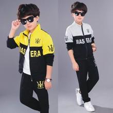חדש בנים ארוך שרוול + מכנסיים סתיו ספורט חליפה לילדים סטים בילדים של מכתב שתי חתיכה חליפות 4 10 גילים צהוב אפור צבע