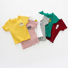 2019 Summer Baby Girl Shirt Fashion Cartoon T Withe Pink Yellow Gray Embroidery Pattern Tops Clothes