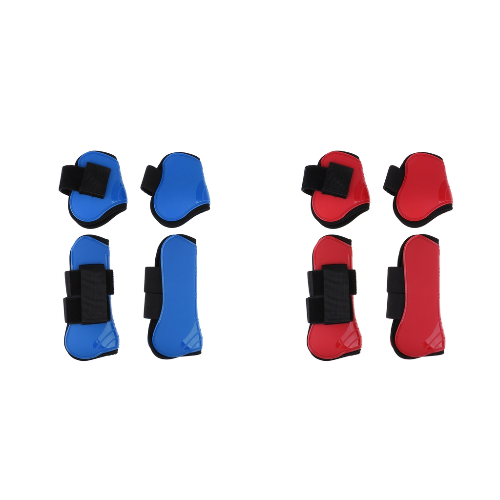 4 Pairs Horse Boots PU Protect Hind Foreleg Riding Horse Protective Gear