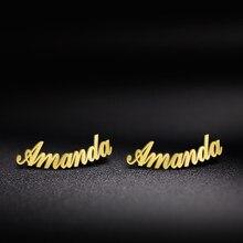 Sipuris moda de aço inoxidável personalizado personalizar nome do parafuso prisioneiro brincos 2020 jóias para mulheres meninas ouro cor carta brinco