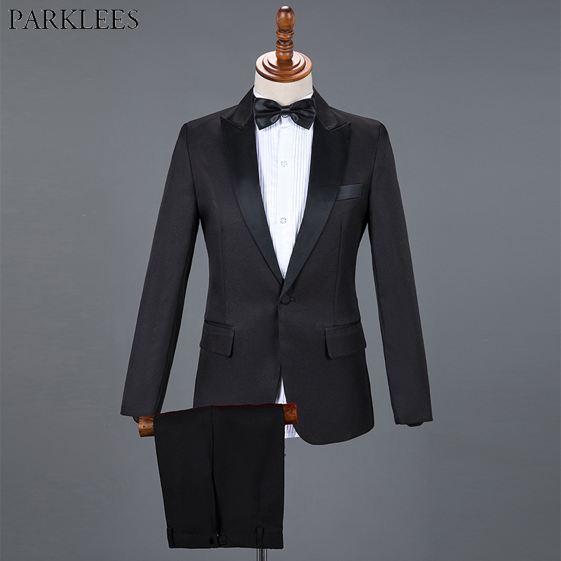 Mens Black Wedding Dress Tuxedo Classic Solid Men Suit Set 2 Piece Men Slim Fit Suits Mens Formal Business Suit With Pant Hombre