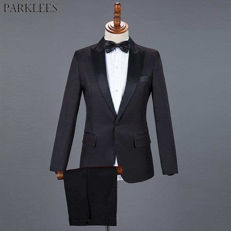 Negro vestido de boda esmoquin clásico de los hombres traje de 2 piezas hombres Slim trajes hombres formal de negocios traje con pantalón Hombre