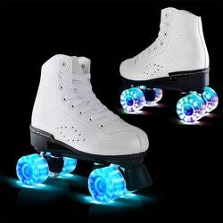 Flash-Rad Rollschuhen Doppel Linie Skates Frauen Weibliche Erwachsene Mit LED Beleuchtung PU 4 Räder Zwei linie Skating Schuhe patines