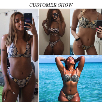 Snake print bikini Push up swimsuit female bathing suit String thong Brazilian bikini 2019 High cut swimwear women Sexy biquini 1