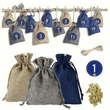 1-24 дня Рождество Адвент календарь синий красный письмо Подарочная сумка украшения подвесные мешки Праздник партия конфеты сумки домашний декор