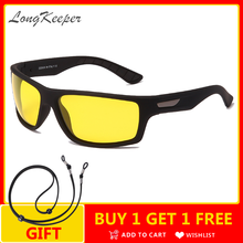 LongKeeper Anti Glare Nachtsicht Gläser Männer Frauen Polarisierte Gelb Objektiv Fahren Sonnenbrille Mit Gläser Seil Brillen