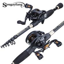 Sougayilang 1.8-2.4m Portable Telescopic Fishing Rod and 12+1bb 6.3:1 Gear Ratio Fishing Reel  Fishing Tackle Combo