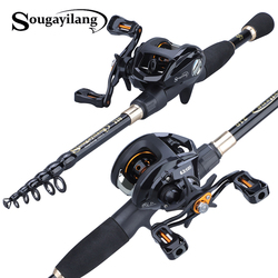 Sougayilang 1.8-2.4m Portable Telescopic Fishing Rod and 12+1bb 6.3:1 Gear Ratio Fishing Reel  Fishing Tackle Combo