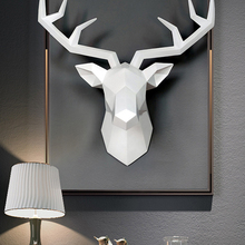 Wall-Decor Sculpture Head-Statue Figurine Miniature Decorative-Art Animal 3d Deer Living-Room