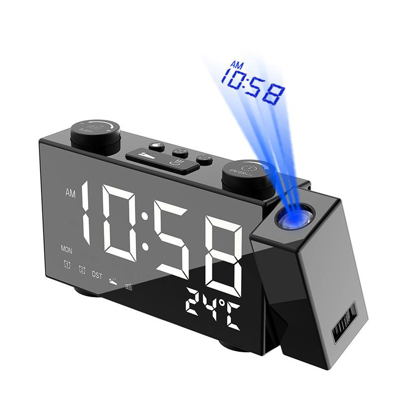 Electronic Projection Alarm Clock 180 Degree Projector Digital Temperature Usb Charger Fm Radio Led Display Snooze Desk Watch