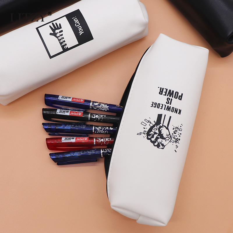 Concise Black Pencil Case School Cute Leather Pencil Bag School Supply Stationery Gift for Girl Small Pencill Box Pencilcase