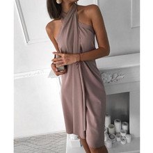 Women New Halter Sleeveless Ruched Design Dress Solid Color Sleeveless Sexy Part