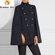 Autumn Winter Women Wool Cape Coat Fashion Double Breasted Loose Black Woolen Blend Coats Outwear Ladies Cashmere Poncho(China)