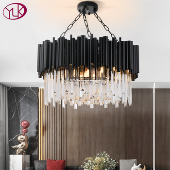 Black modern chandelier lighting for living room luxury round crystal lamp home decoration chain led cristal light fixtures