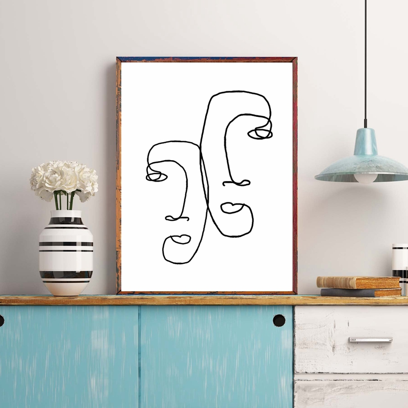 One Line Drawing Wall Art Print
