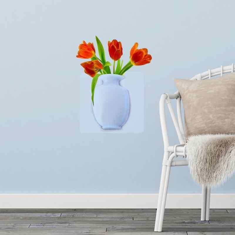 3D DIY زهرية الحائط السيليكا هلام زهرية الإبداعية الزهور جدار ملصقا داخلي مكتب غرفة المعيشة إكسسوارات ديكور منزلي