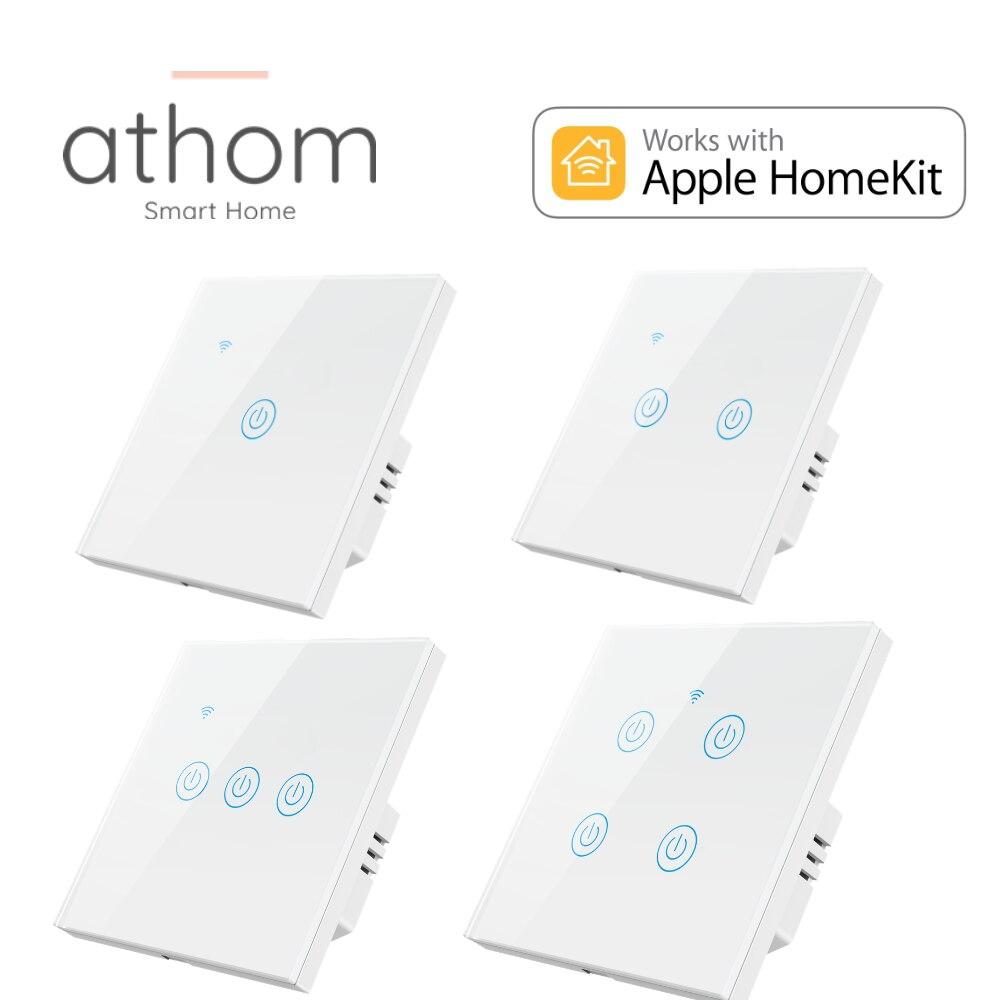 Athom homekit sem neutro necessário wifi padrão da ue interruptor inteligente toque chave siri controle de voz