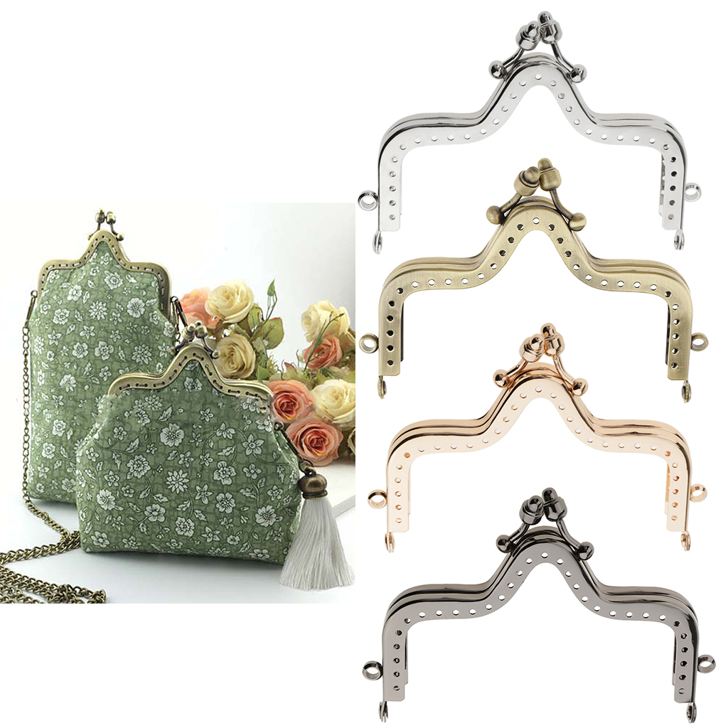 Plating Metal Coin Purse Bag Frame Kiss Clasp Lock Sew In Hill DIY Handbag Craft
