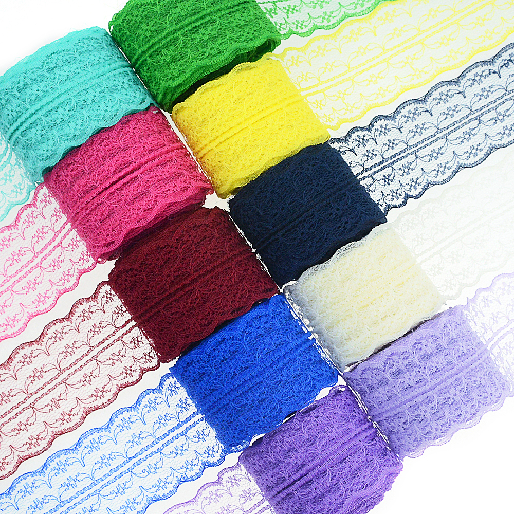 10m/roll 4.5cm Lace Ribbon Bilateral Handicrafts Embroidered Net Lace Trim Fabric Ribbon DIY Sewing Skirt Accessories(China)