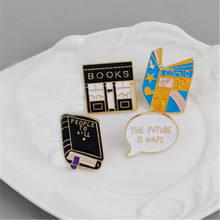 Enamel Brooches Lapel Pins Badges Bag Backpack Jeans Cute Cartoon Book Shop Gifts Wholesale Fashion Accessories-ZJ-W17
