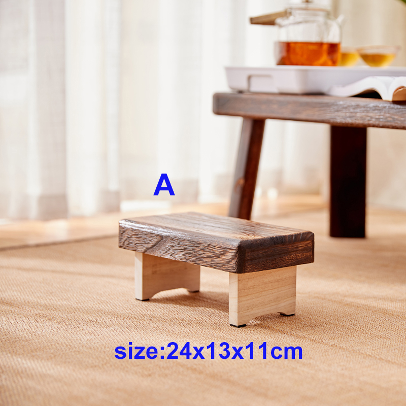 Mini Antique Foldable Wooden Low Stool Rectangle Kids Stool Portable Japanese Style Asian Traditional Furniture Tatami Mat title=