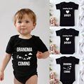 Coming 2021 Letters Print Baby Onesie Infant Romper Baby Boys Girls Bodysuit Jumpsuits Baby's First Grandma Visit Gift Clothes