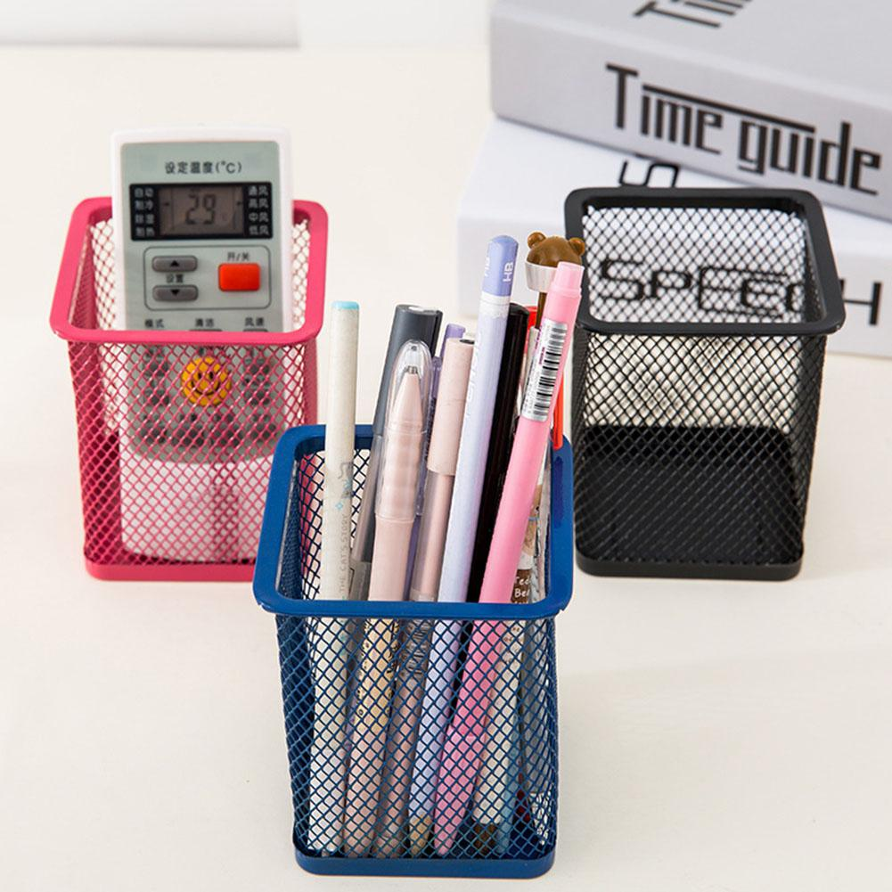 Mesh Metal Pen Pencil Brush Pot Holder Storage Container Office Desk Organizer