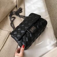 Зимняя женская сумка с текстурой Lingge, новинка, корейская модная женская сумка-мессенджер с цепочкой на одно плечо, маленькая квадратная сумка