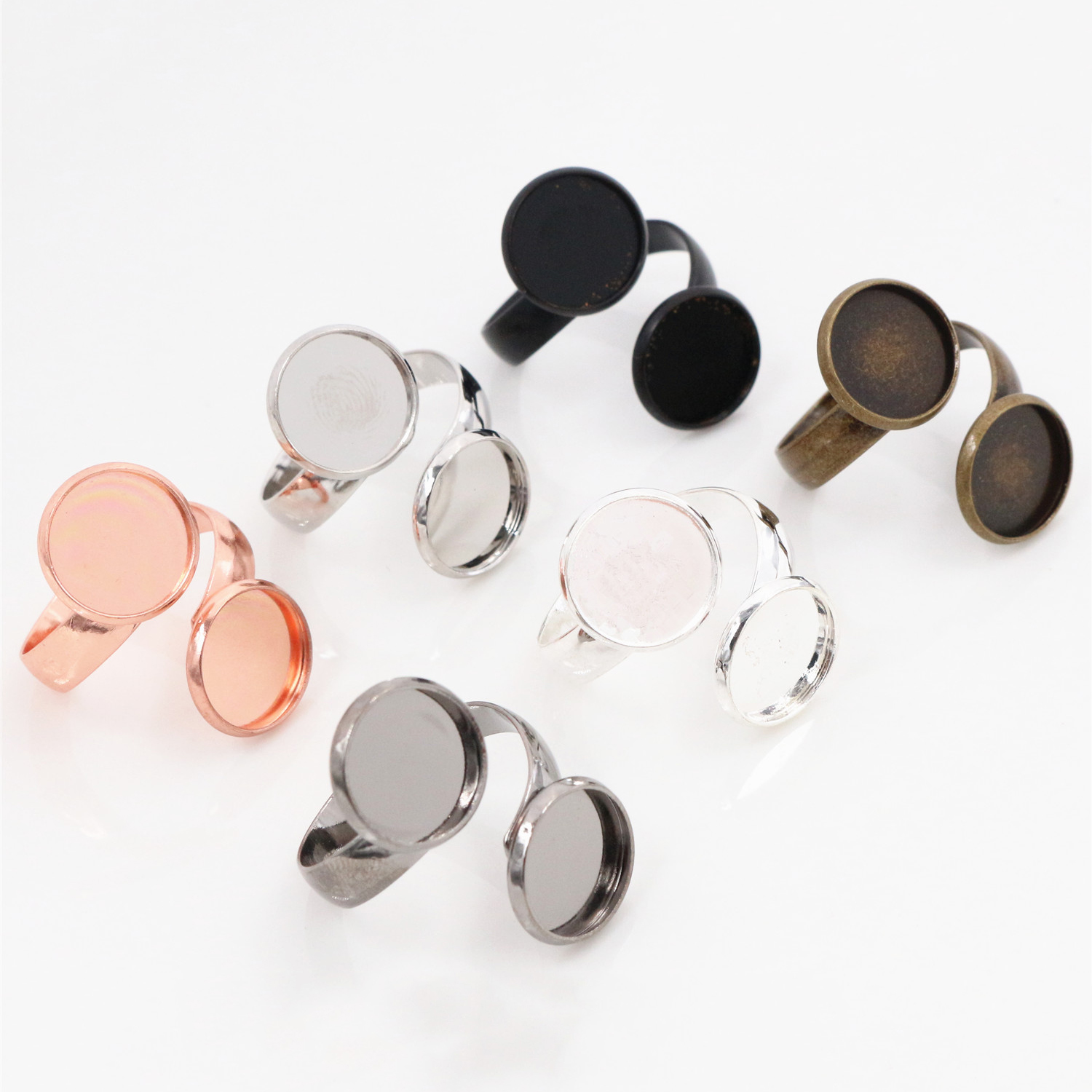 12mm 5pcs/Lot Classic 6 Colors Plated Brass Adjustable Ring Settings Blank/Base,Fit 12mm Glass Cabochons,Buttons;Ring Bezels