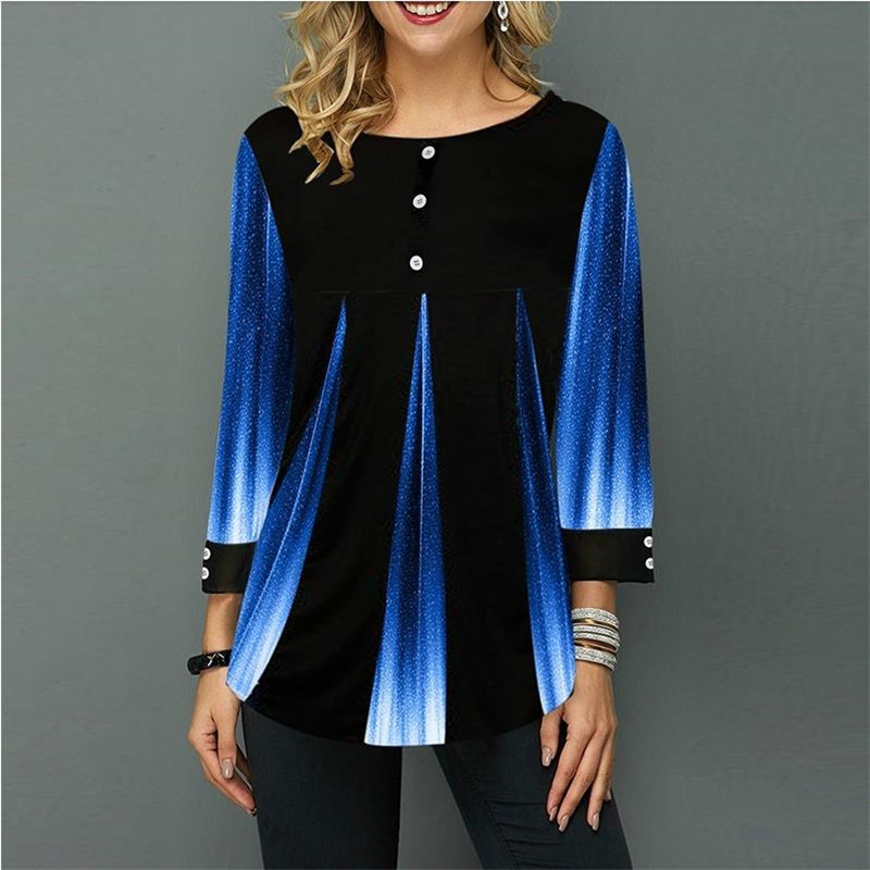 Shirt Women Spring Summer Blouse 3/4 Sleeve Casual 3D Gradient Printing Female Fashion Shirt Tops Plus Size 5XL StreetShirt