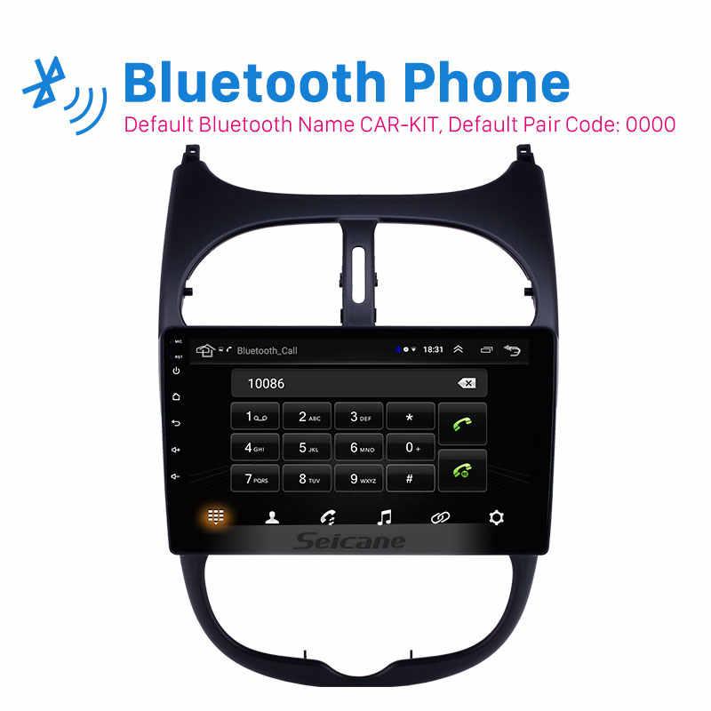 Seicane GPS Autoradio HD タッチスクリーン車のラジオオーディオ 9 ''アンドロイド 8.1 のためのプジョー 206 2000-2016 AUX WIFI サポート Carplay DAB +