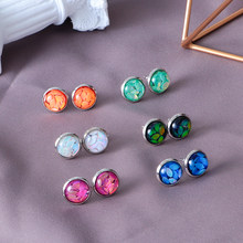 2019 Fashion Crystal Silver Round Druzy Stud 1/6 Pairs Earrings Set Horse Eye Amber Bling Stud Earrings Piercing 12mm Jewelry(China)