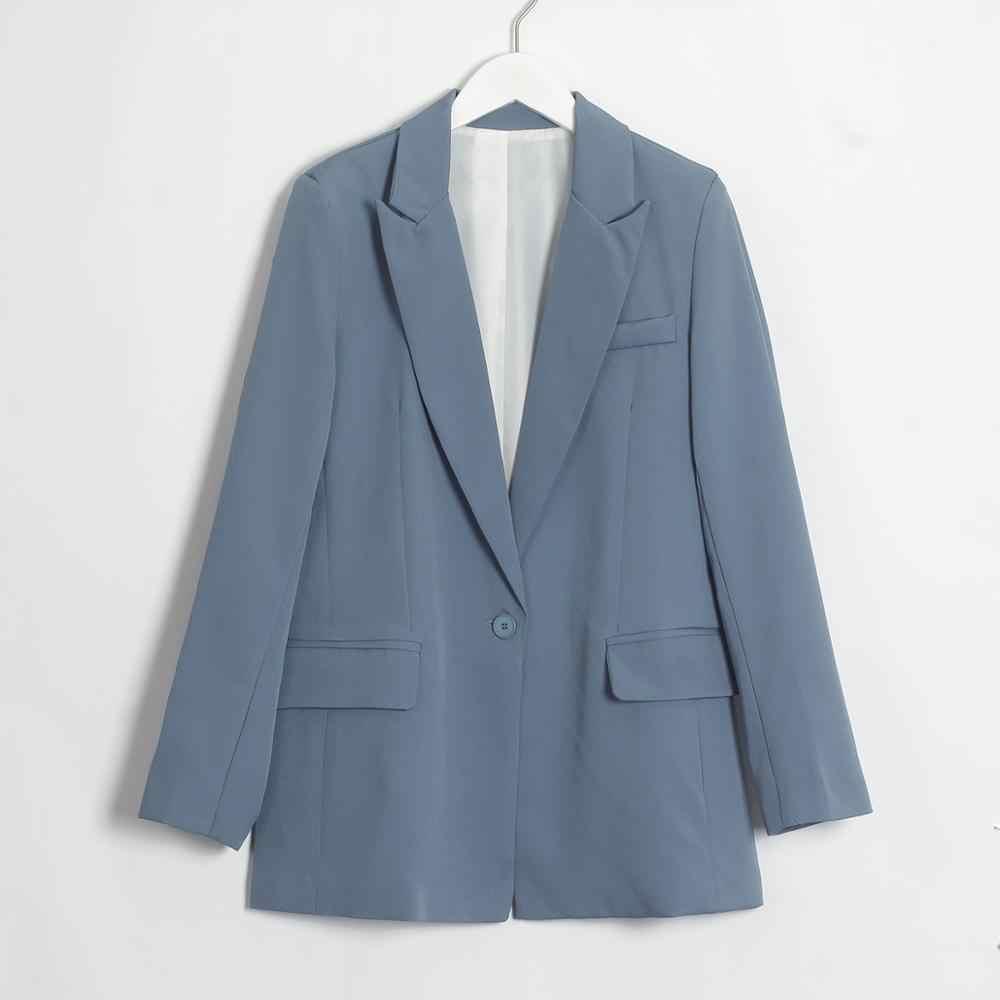 Wixra для женщин классический однотонный Блейзер Осень Весна однобортный Офис Леди с длинным рукавом стильное пальто женская одежда