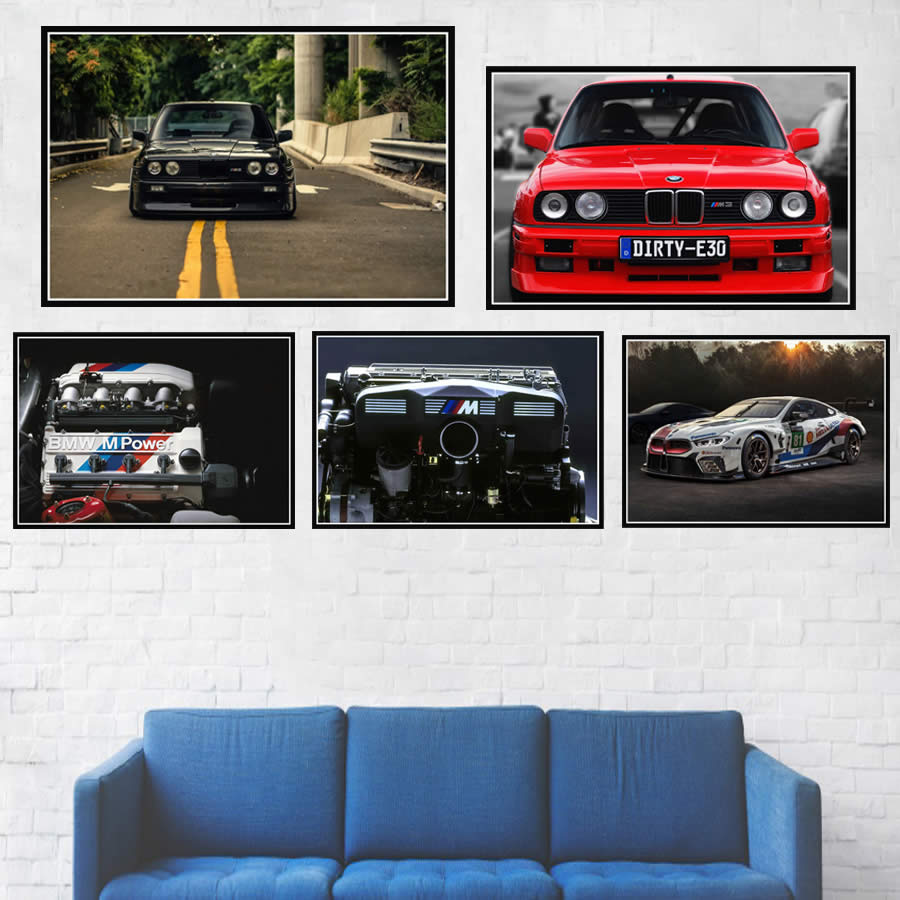 New Bmw M3 E30 Series Super Racing Car Retro Gtr Poster And Prints Wall Art Canvas Picture Painting Modern For Home Room Decor