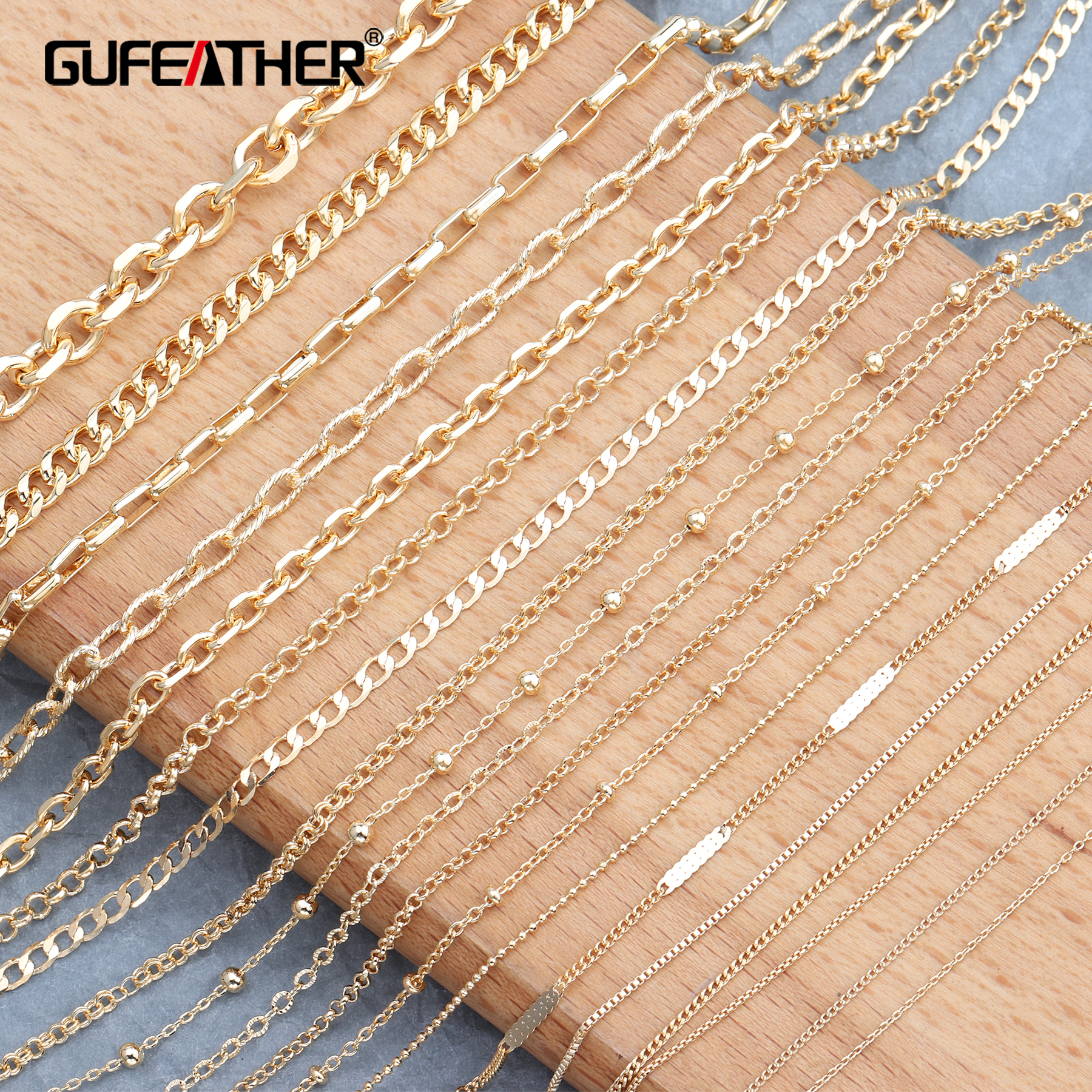 GUFEATHER C65,jewelry Accessories,18k Gold Plated,copper Chain,environmental Protection,jewelry Making,diy Chain Necklace,3m/lot