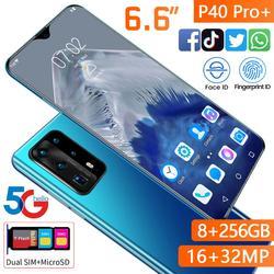 6.6 pouces P40 Pro Version mondiale téléphone portable 8GB 256GB Deca Core CPU empreinte digitale visage déverrouiller 5000mAh HAUWEI Xaomi livraison gratuite