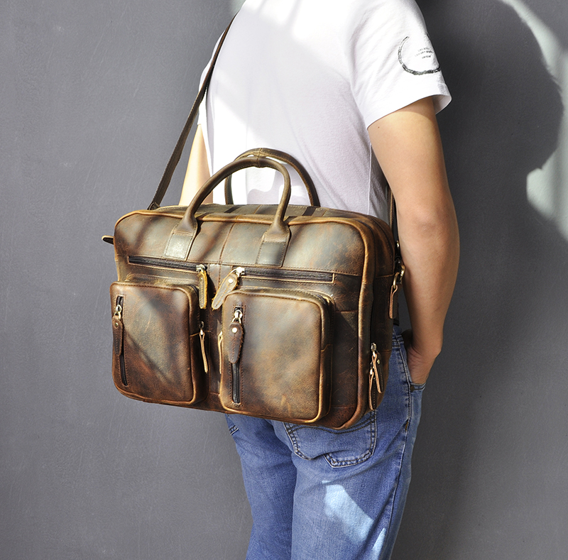 H8e5d821db8014e519dffecc4695c793dI Men Oil Waxy Leather Antique Design Business Travel Briefcase Laptop Bag Fashion Attache Messenger Bag Tote Portfolio Male k1013
