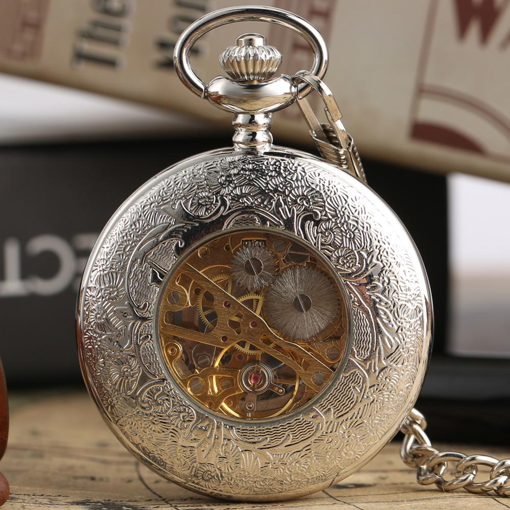 Купить с кэшбэком Fashion Hollow Flower Silver Hand Winding Mechanical Pocket Watch Luxury Silver Metal Web Case Hand Winding Watch Sets + Box Bag